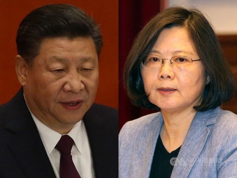 中國國家主席習近平(左)曾說「老祖宗留下來的領土,一寸也不能丟」及加強軍演等作為,總統蔡英文接受CNN專訪時回應,中國對台灣的軍事威脅確實是每一天都在增加。(中央社檔案照片)