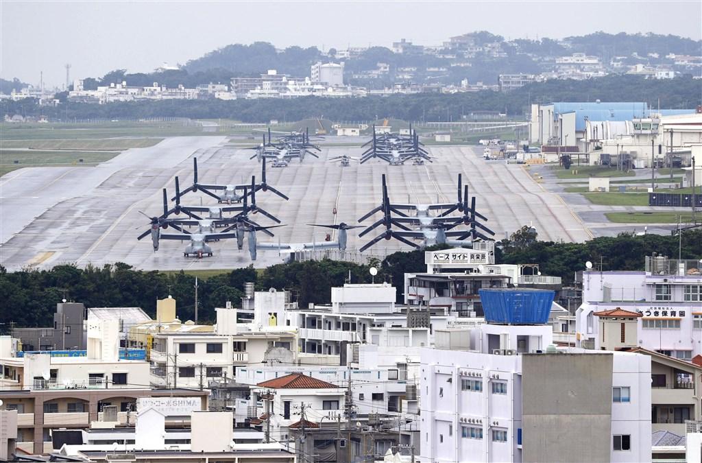 日本沖繩美軍普天間基地是否遷至名護市邊野古,沖繩縣24日舉辦公民投票。(檔案照片/共同社提供)