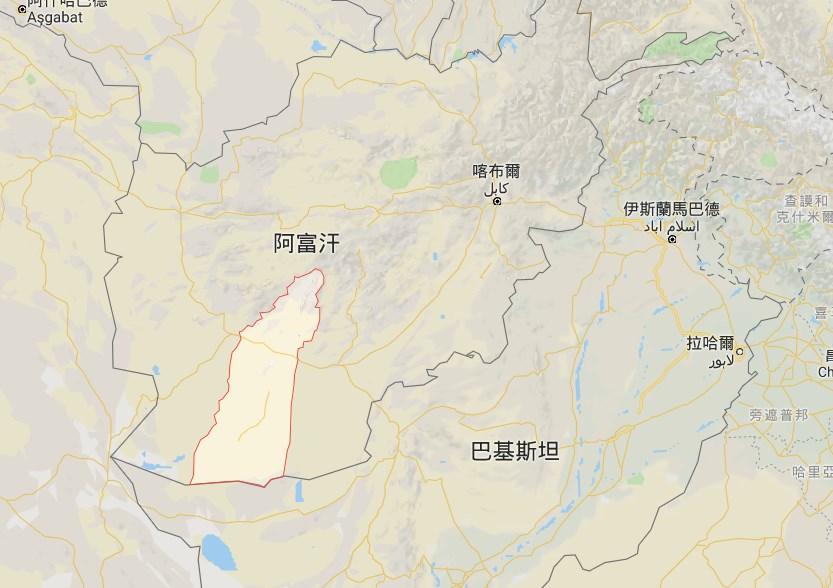 位於阿富汗西南部(紅線框內)的美國與阿富汗聯合基地1日遭民兵組織塔利班攻擊,已知造成至少43人死亡。(圖取自Google地圖網頁google.com/maps)
