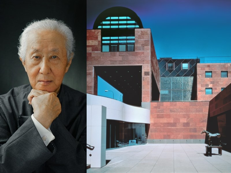 日本建築師磯崎新獲頒有「建築界諾貝爾獎」之譽的普利茲克建築獎。圖右為他的第一個國際項目洛杉磯當代藝術博物館。(圖取自網頁pritzkerprize.com)