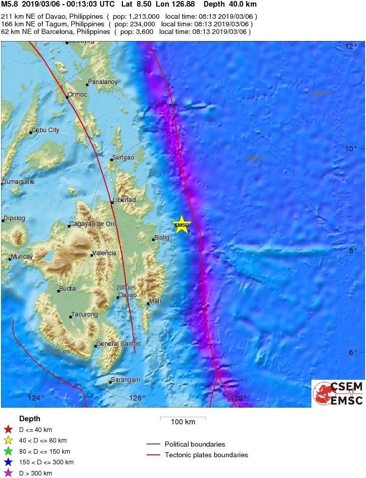 歐洲與地中海地震中心報告,菲律賓的民答那峨6日遭估計規模5.8的地震襲擊(圖取自emsc-csem.org)