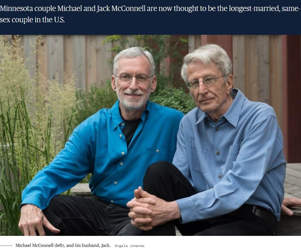 美國同性婚姻先驅麥康奈(左)與貝克經歷長達近50年的法律戰後,兩人的婚姻歷經將近半世紀的法律戰,直到2018年才獲得正式承認。(圖取自美國國家廣播公司新聞網網頁nbcnews.com)