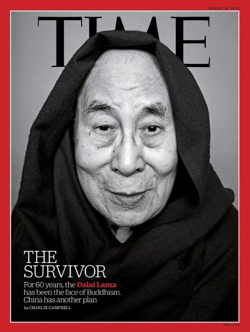 最新出刊的美國時代雜誌以流亡印度60年的達賴喇嘛為封面人物。(圖取自Time網頁time.com)