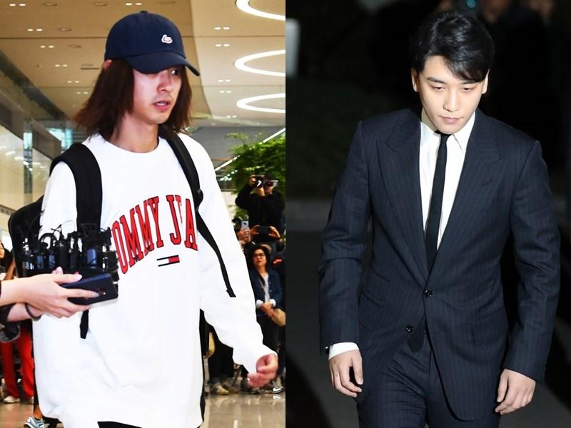 南韓天團BIGBANG成員勝利(右)因性招待醜聞宣布退出演藝圈,藝人鄭俊英(左)因拍攝及散播性愛影片退出所有節目。(檔案照片/韓聯社提供)
