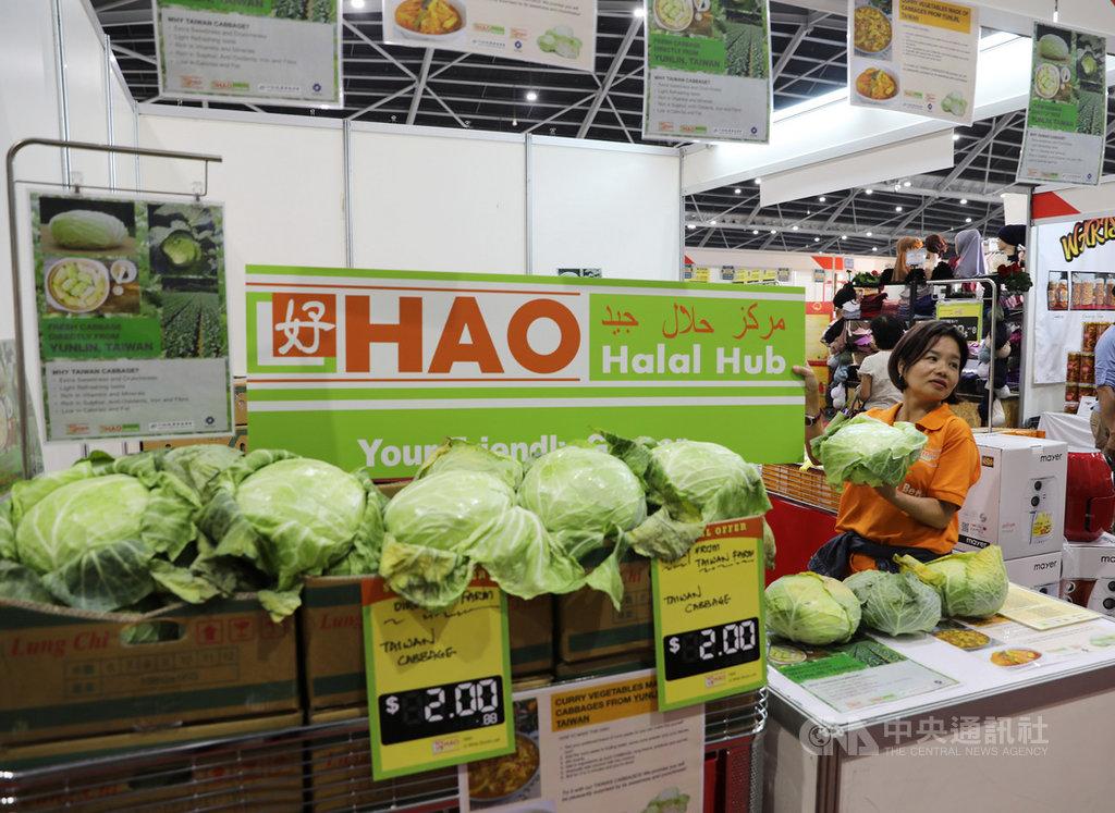 新加坡清真食品展開幕,台灣翠綠甜心高麗菜透過新加坡鄰里超市系統,今年首度進軍清真食品展,讓穆斯林朋友品嚐清脆可口的台灣蔬果。中央社記者黃自強新加坡攝 108年3月14日