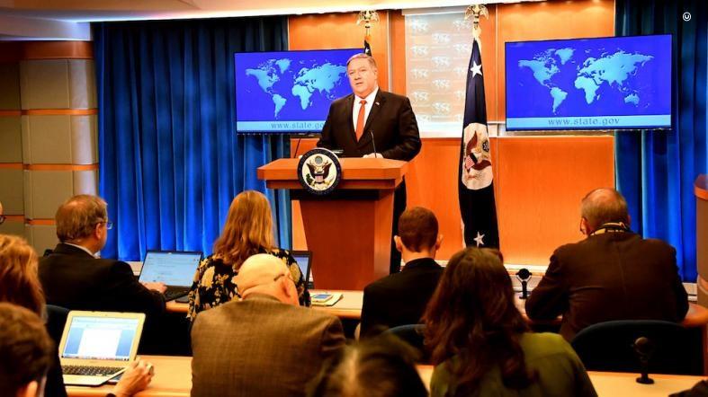 美國國務卿蓬佩奧13日在發布年度人權報告記者會上,點名中國在人權侵犯上「無人能比」。(圖取自網頁blogs.state.gov)