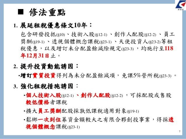 行政院會21日通過「產業創新條例」部分條文修正草案,圖為修法重點。(行政院提供)