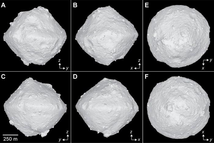 日本「隼鳥2號」探測小行星「龍宮」,確認地表岩石存在水,但並非液態或冰狀態的水,而是存在含水礦物中。(圖取自JAXA網頁jaxa.jp)