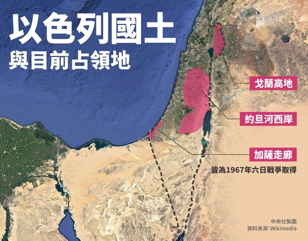 加薩走廊、約旦河西岸、戈蘭高地是以色列1967年六日戰爭所取得的土地。(中央社製圖)