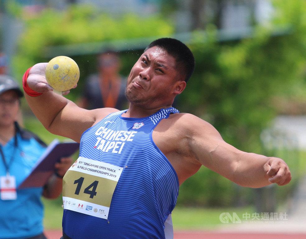 新加坡田徑公開賽,台灣男子鉛球好手馬皓瑋擲出16公尺83奪冠,同時創下今年賽季最佳成績。中央社記者黃自強新加坡攝 108年3月29日