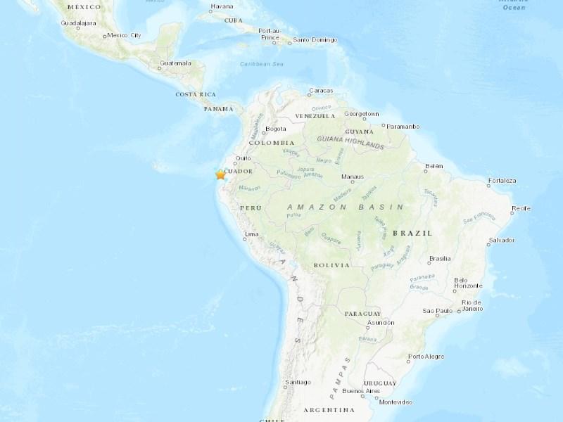 厄瓜多海岸城市聖埃倫娜北方27公里處31日發生規模6.2地震。(圖取自USGS網頁earthquake.usgs.gov)