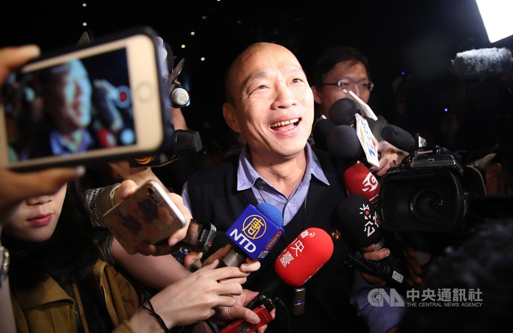 外界關注高雄市長韓國瑜是否會被徵召或特邀投入2020選舉,他30日晚間貼文表示,會在4年內展現決心與毅力,讓大家看見高雄的成長與改變。(中央社檔案照片)