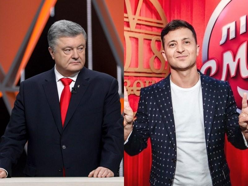 出口民調顯示,烏克蘭喜劇演員澤倫斯基(右)將在總統大選首輪投票出線,與巧克力大亨出身的現任總統波洛申科(左)在下月的決選一較高下。(右圖取自facebook.com/zelenskiy95、左圖取自twitter.com/poroshenko)