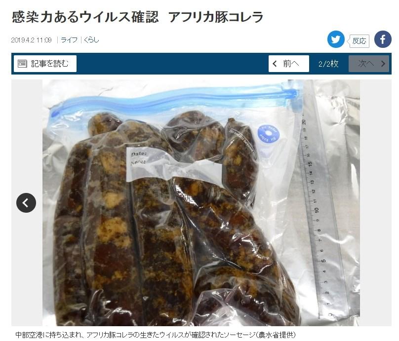 日本首度驗出有傳染力強的非洲豬瘟病毒被帶入境,來自兩名中國旅客入境中部國際機場(名古屋)時攜帶的香腸。(圖取自產經新聞網頁www.sankei.com)