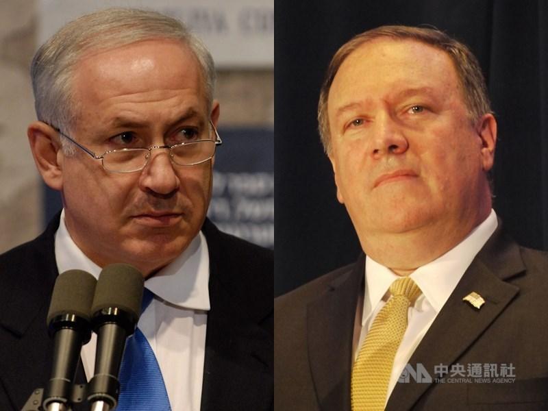 以色列總理尼坦雅胡(左)日前承諾,倘若連任總理,將兼併約旦河西岸以色列占領的屯墾區。美國國務卿蓬佩奧9日對此表示,拒絕重申美國支持巴勒斯坦國。(中央社)