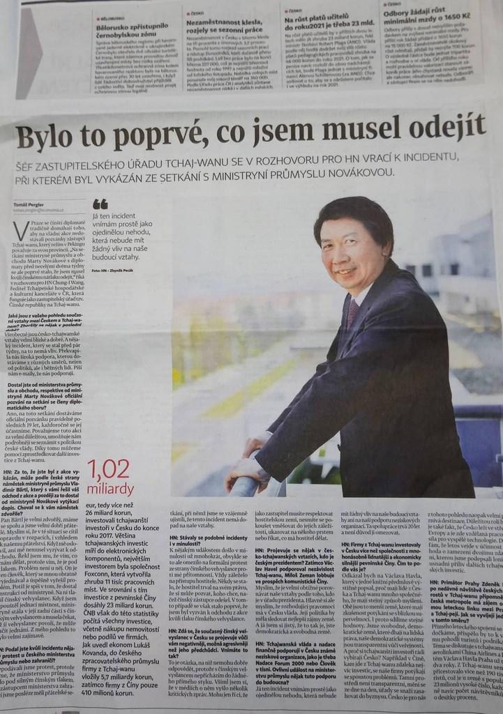 捷克大報經濟日報9日刊出駐捷克代表汪忠一的專訪,他表示雖然因中國施壓而被迫離開貿工部主辦的會議,但這起風波不至於影響兩國關係。(駐捷克代表處提供)中央社記者林育立柏林傳真 108年4月11日