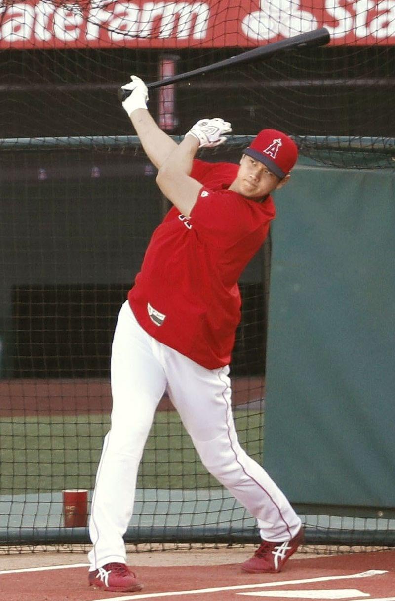 效力美國職棒大聯盟洛杉磯天使隊的日本球星大谷翔平,22日在自由全力揮擊中敲出15支「全壘打」。(共同社提供)