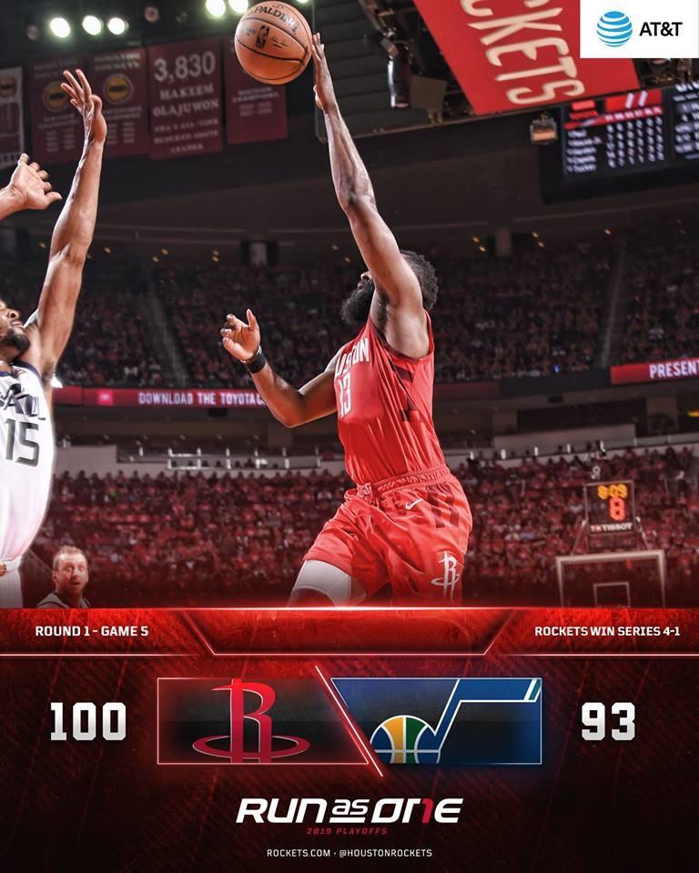 NBA火箭的哈登24日攻下26分,最終火箭對爵士100比93獲勝,以4比1晉級季後賽次輪。(圖取自facebook.com/houstonrockets)