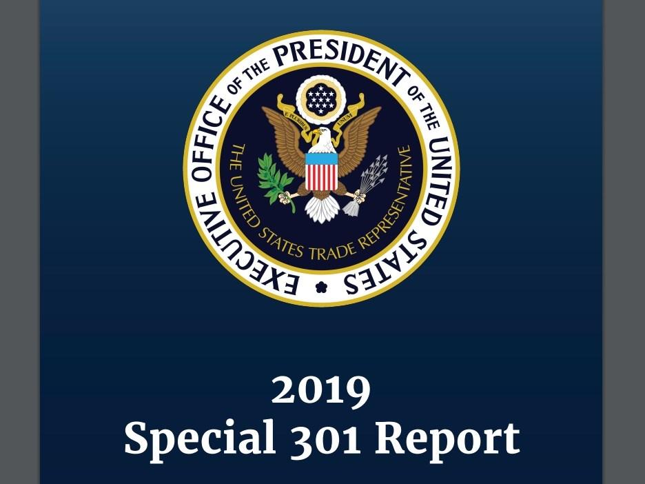 美國貿易代表署25日公布特別301報告,包括中國、印度等11國被列為優先觀察名單。(圖取自美國貿易代表署網頁ustr.gov)