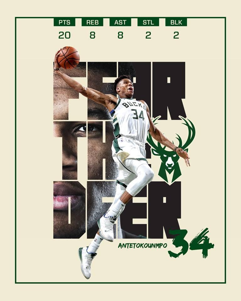 NBA公鹿8日以116比91擊退塞爾蒂克。(圖取自facebook.com/milwaukeebucks)