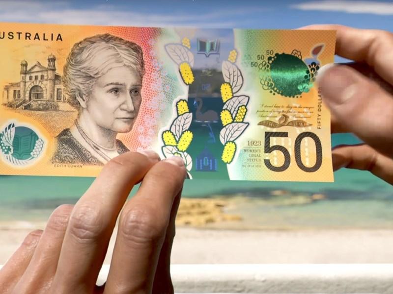澳洲央行發行新版50元紙鈔,以縮影印刷印上澳洲第一位女國會議員伊迪斯科文1921年在國會處女演說的演講詞,但被眼尖民眾發現裡面「責任」一字少拼了一個i。(圖取自澳洲儲備銀行網頁banknotes.rba.gov.au)