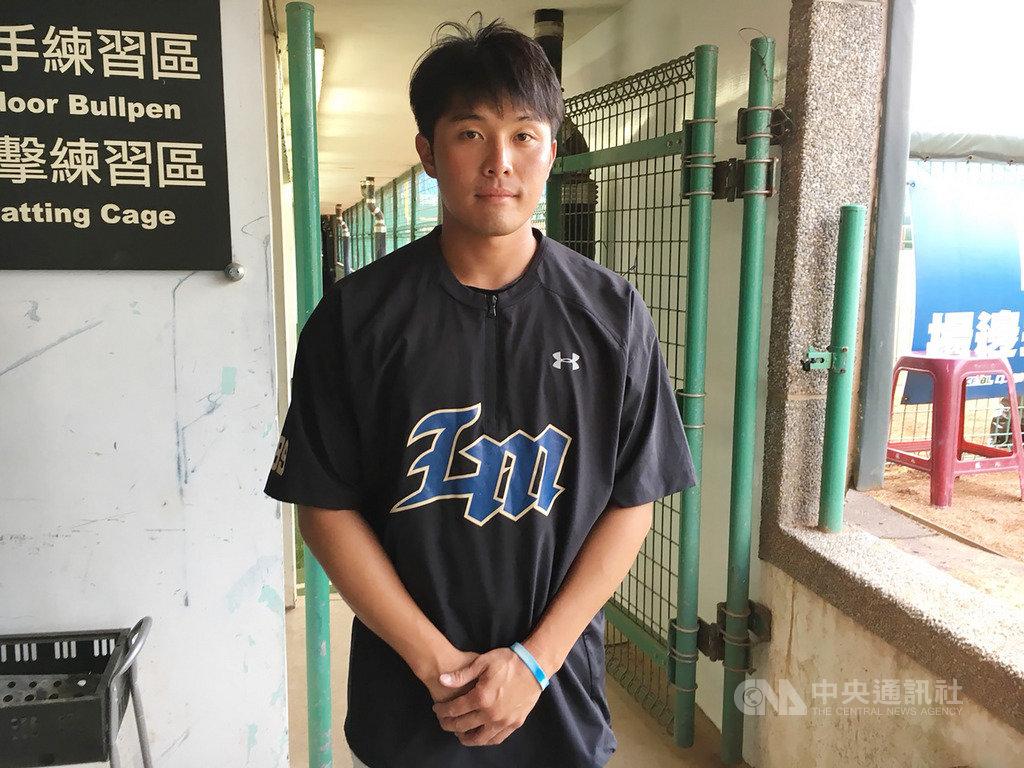 中華職棒Lamigo桃猿隊投手賴智垣日前重返一軍,他受訪時表示,先前給自己的壓力太大,加上春訓衝太快,在二軍期間已調整好狀況,做好隨時出賽的準備。中央社記者楊啟芳攝 108年5月16日