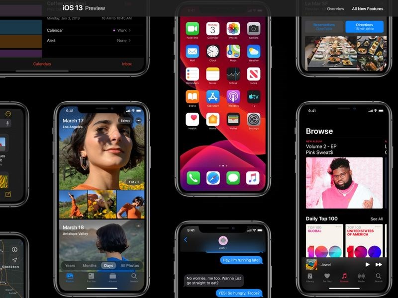 蘋果公司3日在全球開發者大會發表內建深色模式的iOS 13作業系統,並宣布iTunes服務將由3款獨立App取代。(圖取自蘋果公司網頁apple.com)