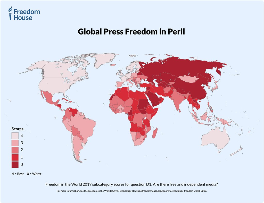 自由之家4日發布「2019年自由與媒體」報告,台灣排名最高的4分等級。(圖取自自由之家網頁freedomhouse.org)