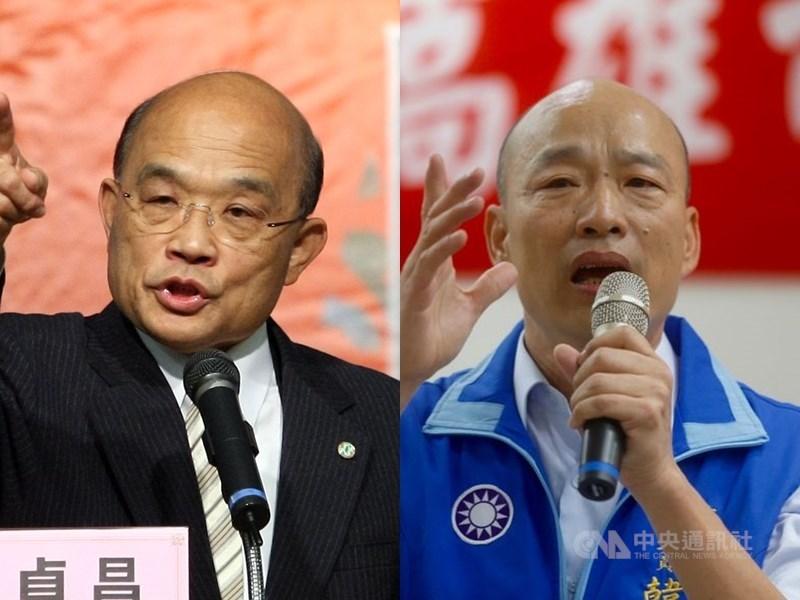 高雄市長韓國瑜(右)13日北上列席行政院會,這是行政院長蘇貞昌接任後,韓國瑜首度出席行政院會。(中央社檔案照片)