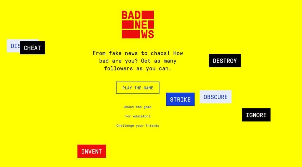 英國劍橋大學社會決策實驗室2018年開發Bad News遊戲,根據1.5萬用戶遊玩結果顯示,能有效提升民眾對「假新聞」的意識。(圖取自Bad News遊戲網頁getbadnews.com)