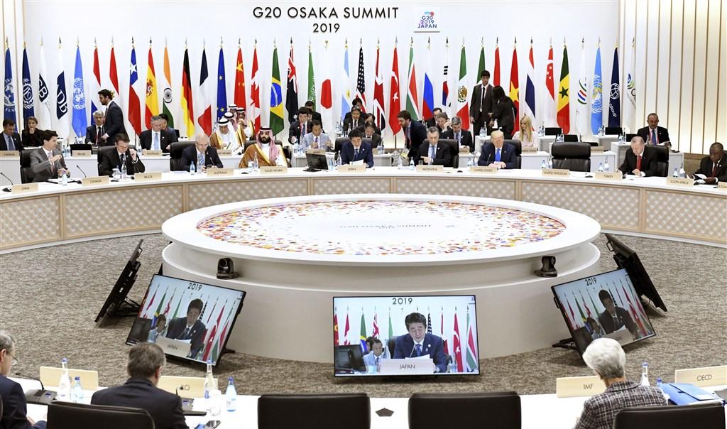 20國集團(G20)大阪峰會29日在通過領袖宣言後,結束為期兩天的議程。(共同社提供)