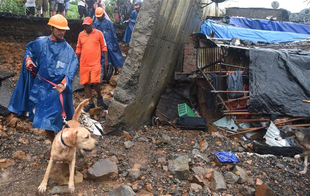 印度金融之都孟買2日降下罕見暴雨,城內和周圍城鎮發生多起牆壁倒塌事件,救援人員及搜救犬在坍塌現場搜救。(法新社提供)