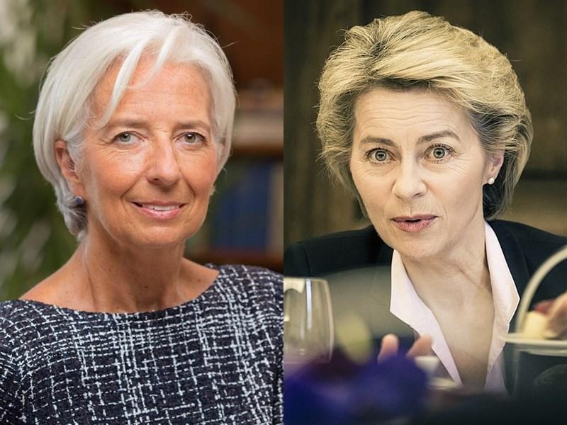 歐洲理事會已就歐盟機構未來領導階層達成協議,提名國際貨幣基金總裁拉加德(左)擔任歐洲中央銀行總裁、德國國防部長范德賴恩接掌歐盟執行委員會主席。(圖左取自facebook.com/christinelagarde/右圖取自維基共享資源;作者Kuhlmann/MSC,CC BY 3.0 de)