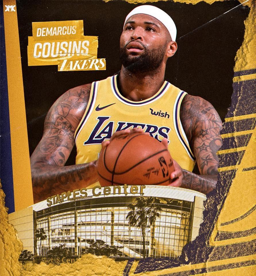 美國職籃NBA洛杉磯湖人隊與「表弟」柯森斯敲定一年230萬美元合約。(圖取自facebook.com/DemarcusCousins)