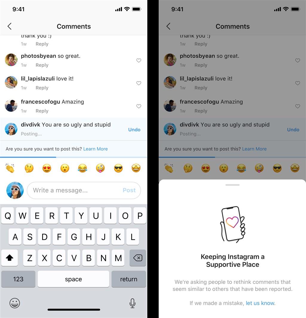 社群網站Instagram推出新功能約束霸凌言論。(圖取自IG網頁instagram-press.com)