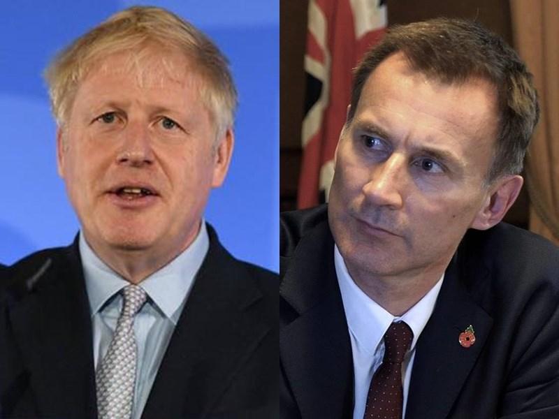 爭取英國首相大位的前外相強生(左)與現任外相韓特(右)9日針對脫歐議題,在電視辯論會上唇槍舌戰。(左圖取自facebook.com/borisjohnson、右圖取自facebook.com/jeremyhuntsws)