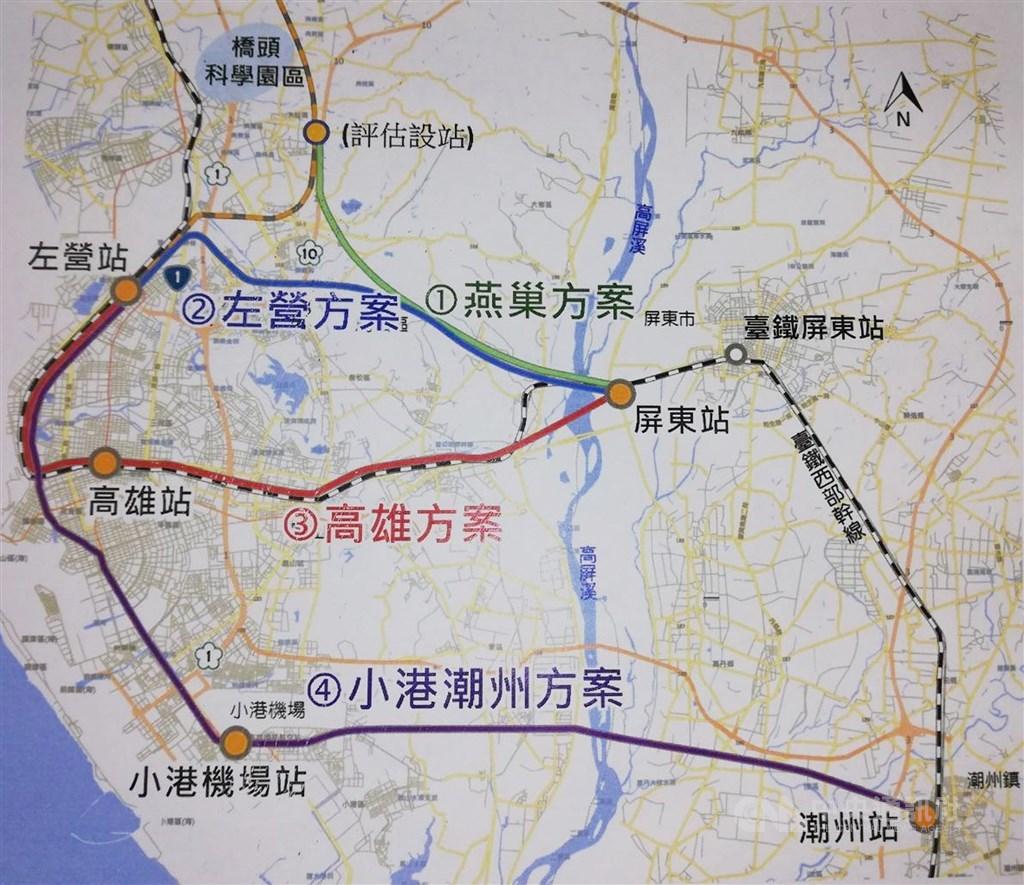 高鐵延伸屏東可行性評估新增2條路線,目前共有4條路線列入考慮,其中高雄方案採地下化興建,另3個方案採高架。(中央社檔案照片)
