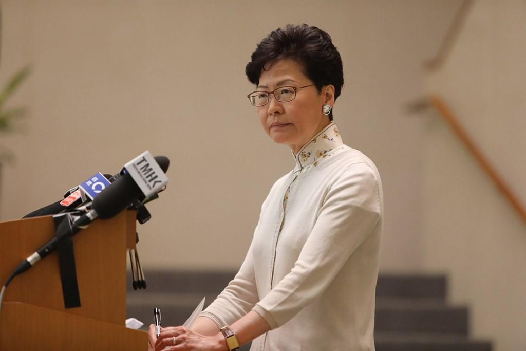 香港特首林鄭月娥因「逃犯條例」修法陷入空前政治危機。(中通社資料照片)中央社