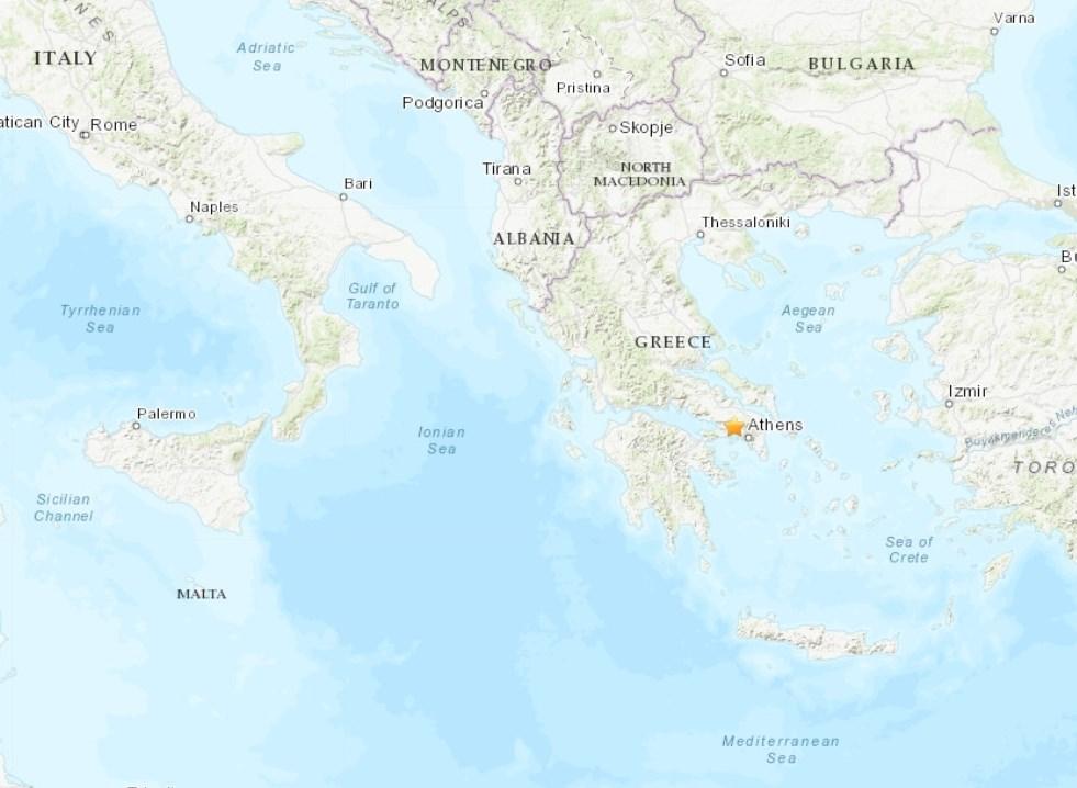 希臘首都雅典19日發生規模5.3強震,電話和行動電話服務因此中斷。(圖取自美國地質調查所網頁earthquake.usgs.gov)