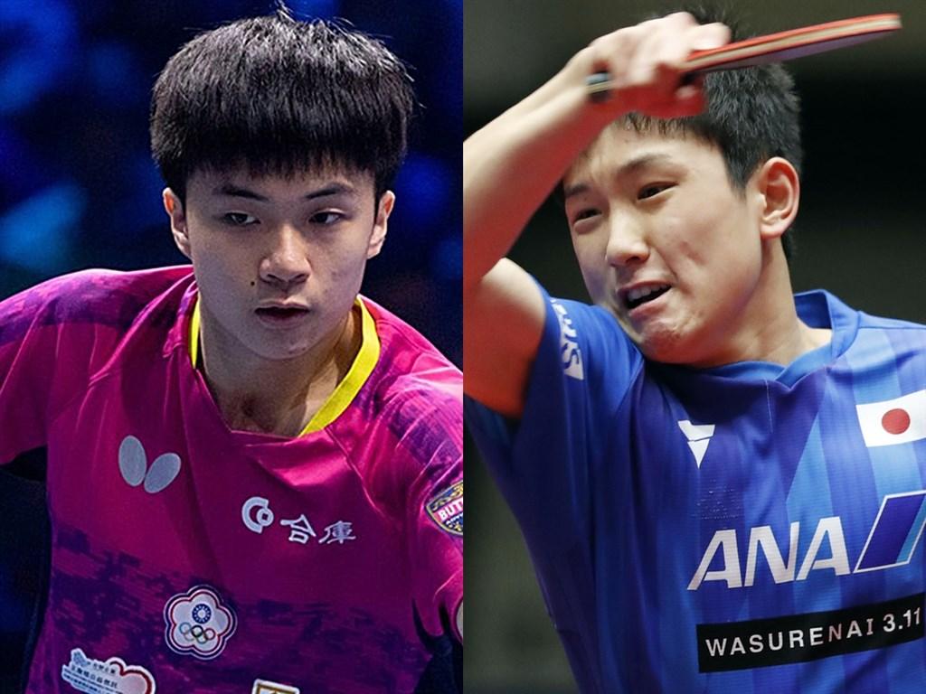 台灣17歲小將林昀儒(左)21日在T2桌球鑽石賽勇奪冠軍,國際桌球總會官網報導讚揚他優異表現,將他與日本16歲神童張本智和(右)相提並論。(左圖取自facebook.com/ITTFWorld,右圖共同社提供)