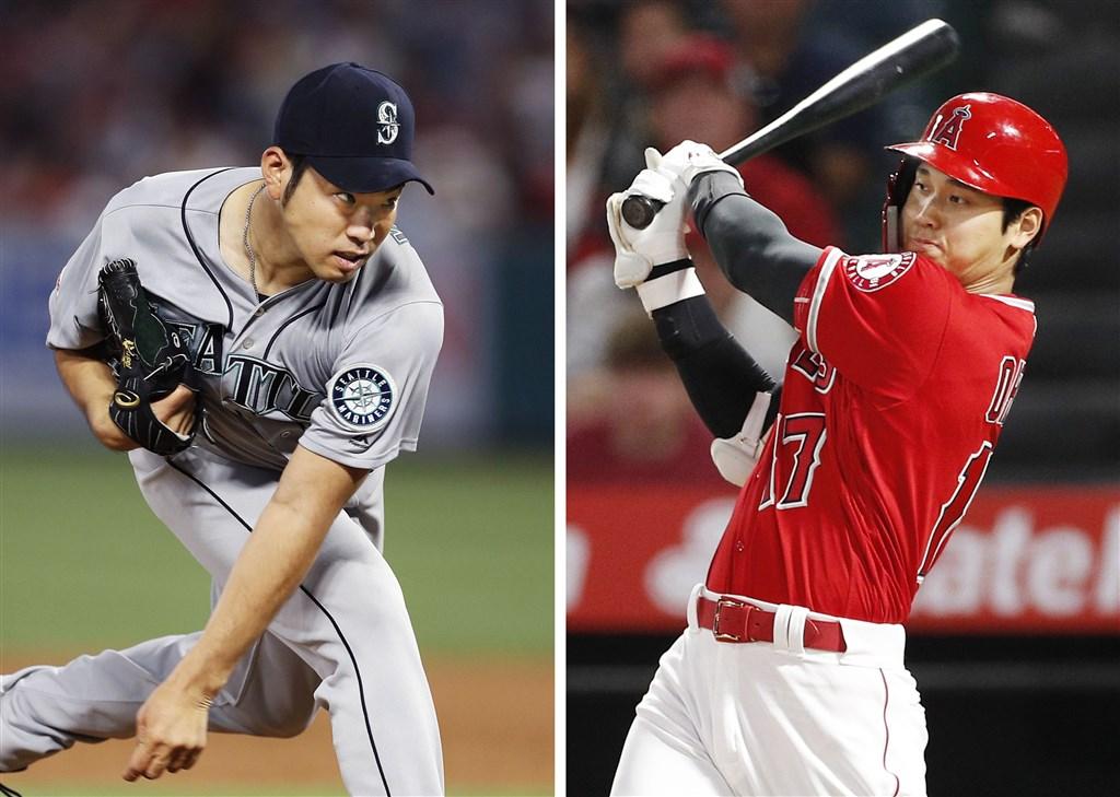 MLB天使的大谷翔平(右)21日從高中學長、水手先發投手菊池雄星(左)手中敲出長打,幫助隊友擊敗水手。(檔案照片/共同社提供)