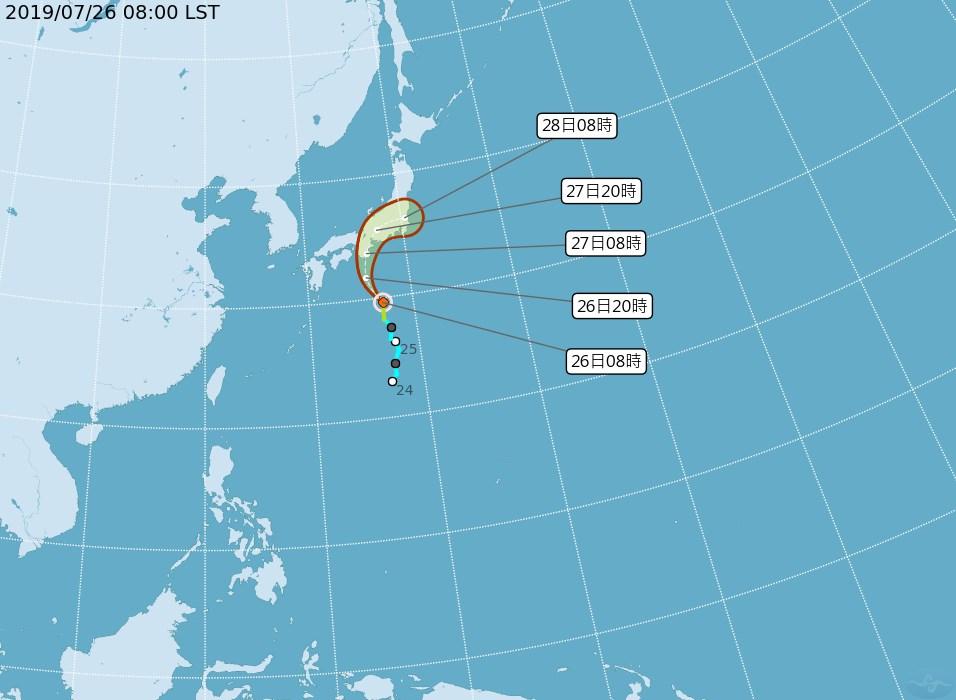 原位於日本南方海面的熱帶性低氣壓26日上午8時增強為輕度颱風百合,中央氣象局預測未來朝日本方向移動,對台灣無直接影響。(圖取自中央氣象局網頁cwb.gov.tw)