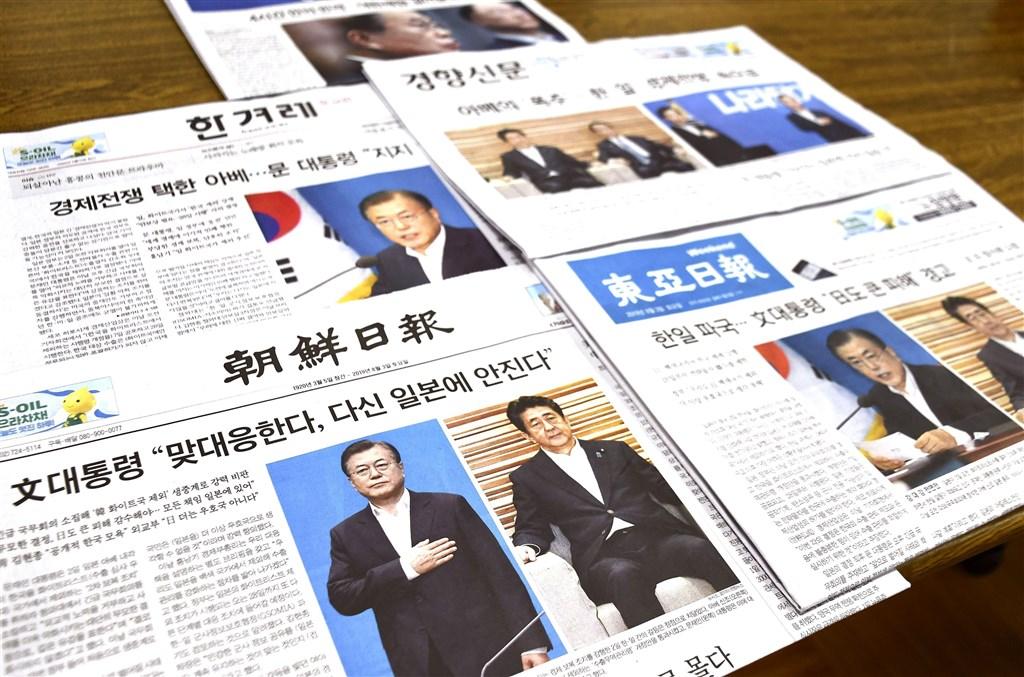 日韓貿易戰升溫,南韓媒體解讀兩國關係面臨破局,陷入自1965年建交以來最困難的時期。(共同社提供)