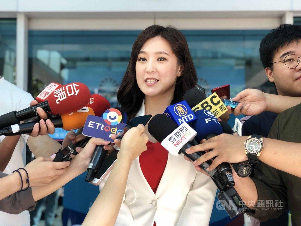前台視新聞主播何庭歡4日證實,她將接任國民黨總統參選人韓國瑜競選團隊的發言人,5日將正式上任。中央社記者王承中攝 108年8月4日
