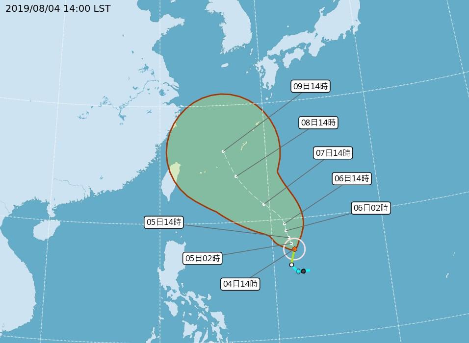 氣象局4日表示,今年第9號颱風利奇馬生成,預計8日及9日台灣地區將會受到其外圍環流影響。(圖取自中央氣象局網頁cwb.gov.tw)