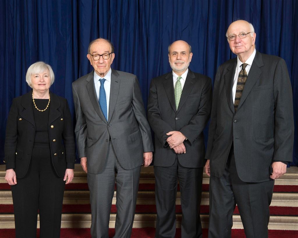 美國聯邦準備理事會4位前主席葉倫(左起)、葛林斯潘、柏南奇、伏克爾罕見發布聯合公開聲明,呼籲讓聯準會維持獨立運作。(圖取自維基共享資源,版權屬公眾領域)