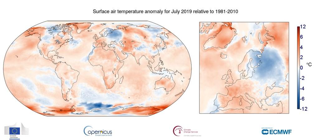 歐洲7月慘遭有史以來最劇烈的熱浪肆虐,北極圈也出現異常高溫。歐洲聯盟哥白尼氣候變化服務表示,2019年7月是史上最熱的月份。(圖取自哥白尼氣候變化服務網頁climate.copernicus.eu)