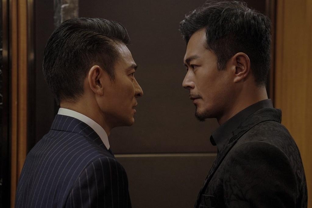 中國國家電影局禁止陸片和影視人員參加今年金馬獎,劉德華(左起)和古天樂主演的港片「掃毒2」也取消報名。(圖取自www.facebook.com/skyfilmsINtaiwan)