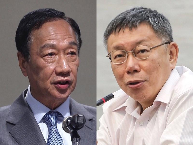 鴻海創辦人郭台銘(左)13日針對是否會跟台北市長柯文哲(右)見面表示:「以柯市長說的為準。」(中央社檔案照片)