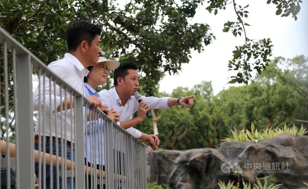總統蔡英文(右2)16日在新竹市長林智堅(右)陪同下,到預計於年底完工重新開放的新竹市立動物園,造訪長臂猿的棲地。中央社記者魯鋼駿攝 108年8月16日